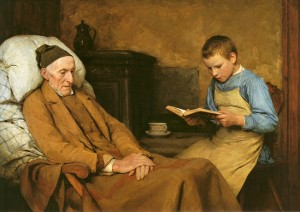 Albert Anker, Die Andacht des Großvaters (1893)