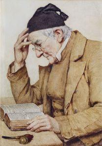 Albert Anker, Lesender Mann (1909)