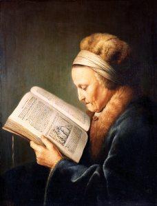 Gerard Dou, Portrait einer lesenden alten Frau