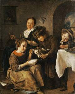 Jan Steen (1625-1679), Kinder wollen einer Katze das Lesen beibringen