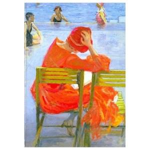 John Lavery, Lesendes Mädchen im roten Kleid (1887)